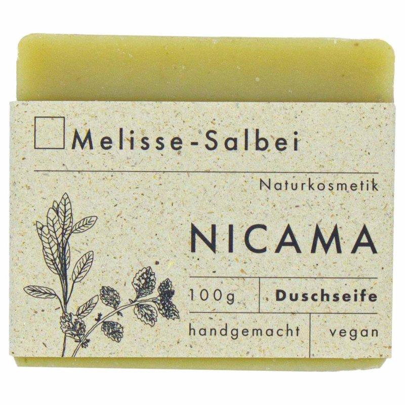 NICAMA handgemachte Duschseife Melisse - Salbei
