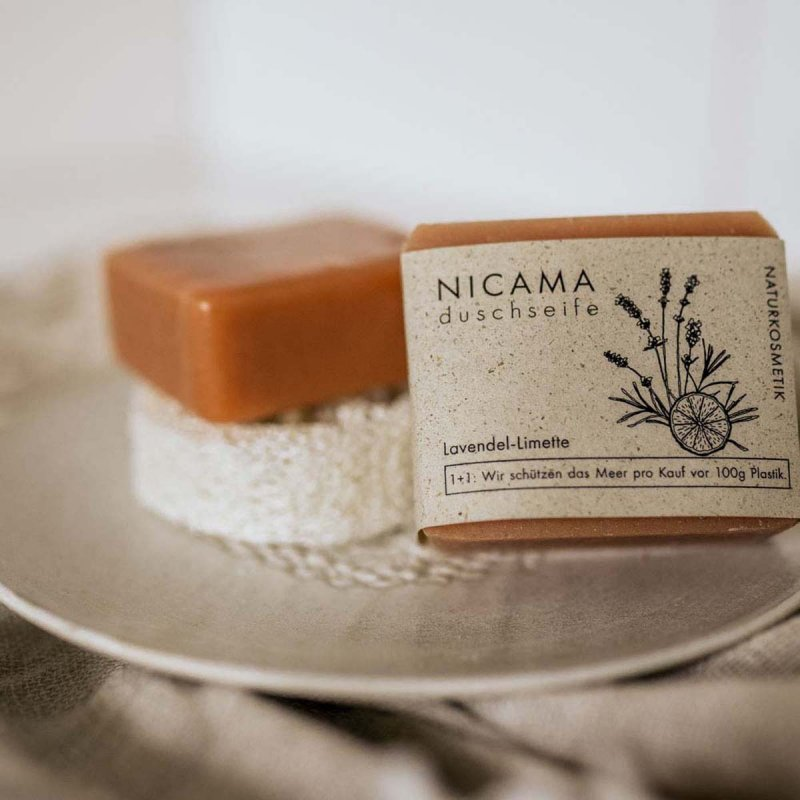 NICAMA nachhaltige Duschseife moodbild