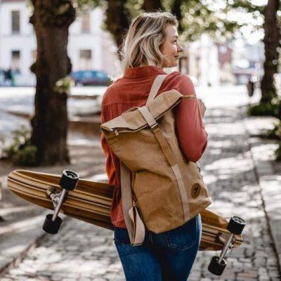 Papero Rucksack aus Papier Cougar – braun
