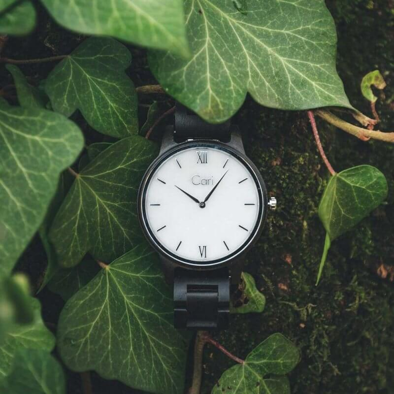 Cari Holz Uhr Athen Blatt