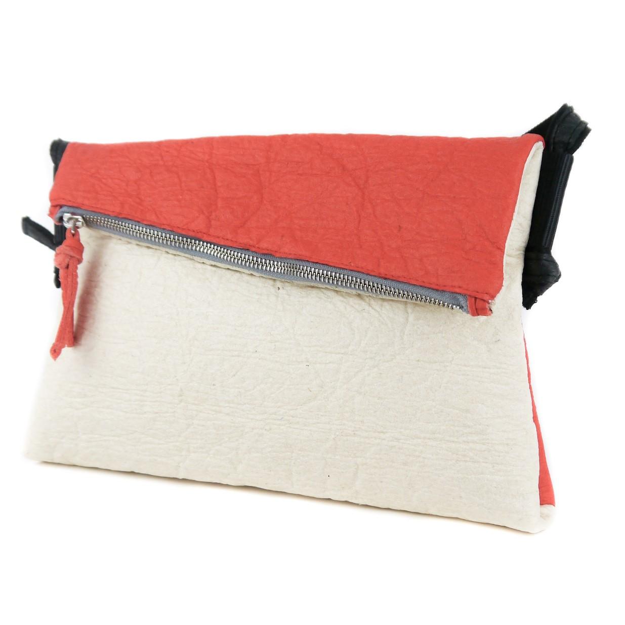 vegane Handtasche rot weiß